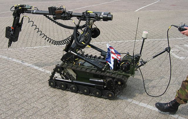 Demonstration of a remote-controlled vehicle used to clear explosives in the Netherlands