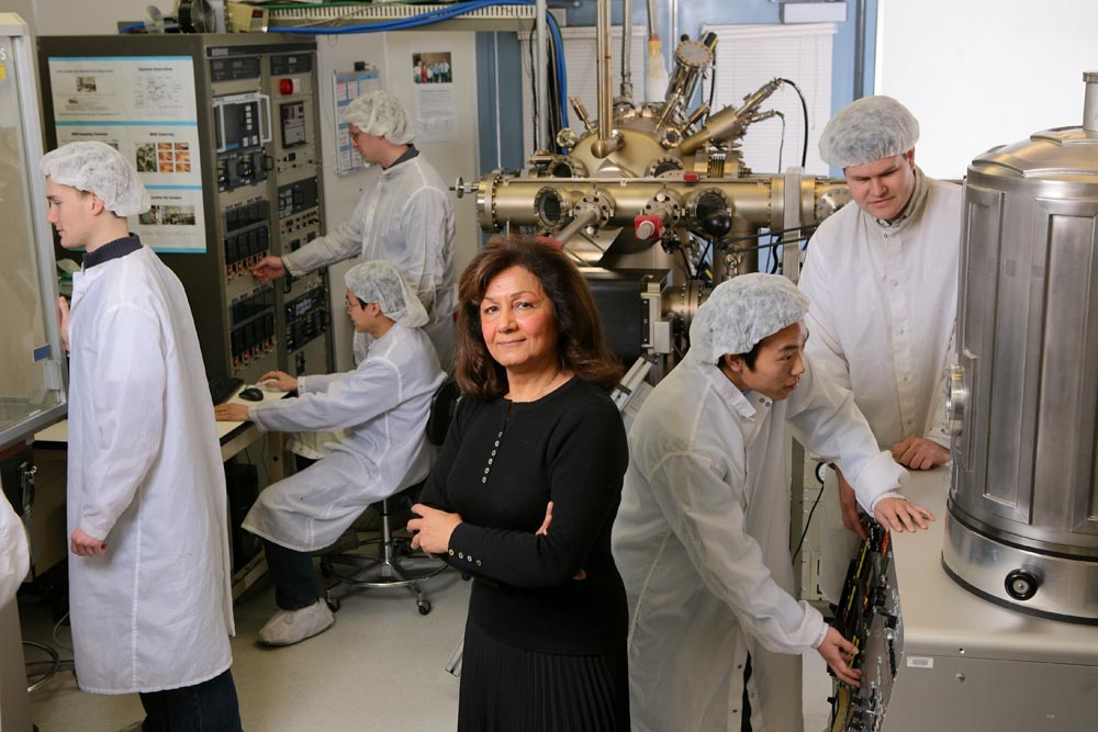 Razeghi and students in the lab