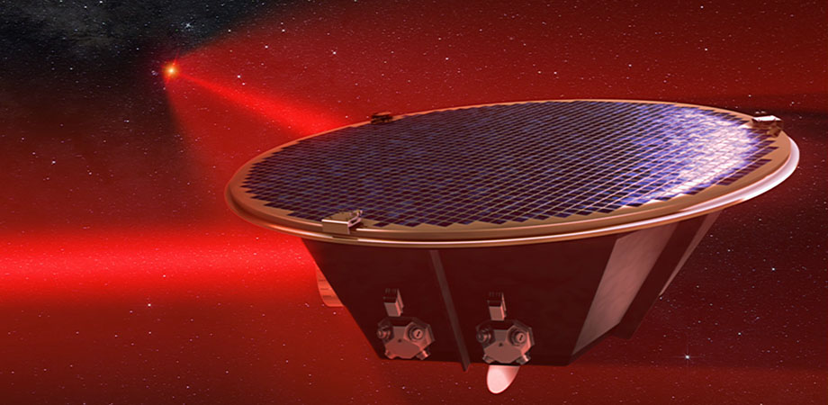 Artist's impression of the LISA spacecraft with two laser links