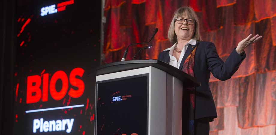 Donna Strickland of University of Waterloo speaks at the BiOS plenary session at SPIE Photonics West