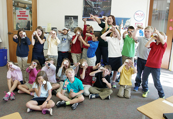 Allison & a third grade class learning about  NASA's James Webb Space Telescope